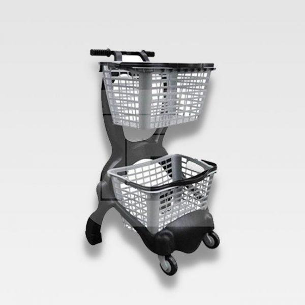 carrinho para supermercado crr 2 cestas 25 litros